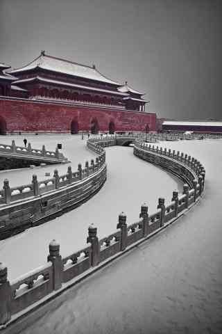 北京故宫阴霾的雪天手机壁纸