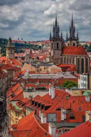 千塔之城布拉格城市风景手机壁纸