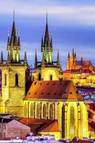 千塔之城布拉格唯美灯光夜景手机壁纸