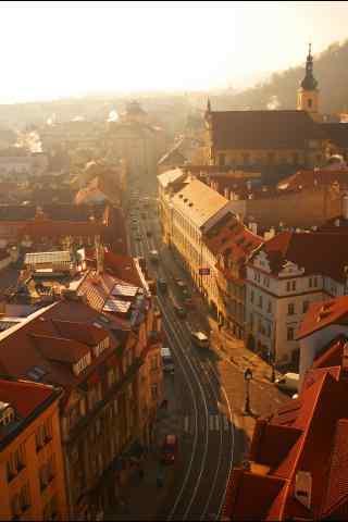 布拉格唯美日落风景图片手机壁纸