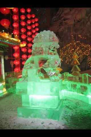 哈尔滨冰雕之石狮子手机壁纸
