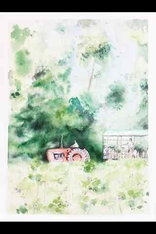 唯美农场油画风景图片