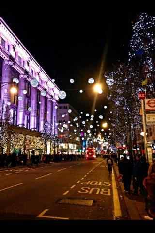唯美圣诞节城市风景高清壁纸