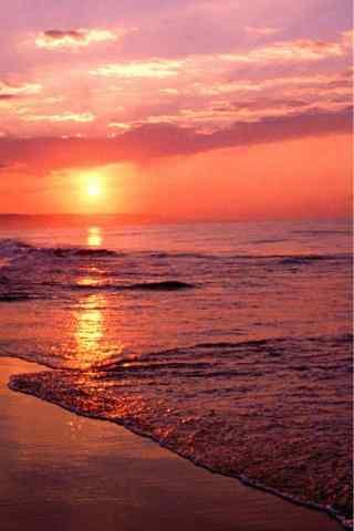夕阳西下唯美海边手机壁纸