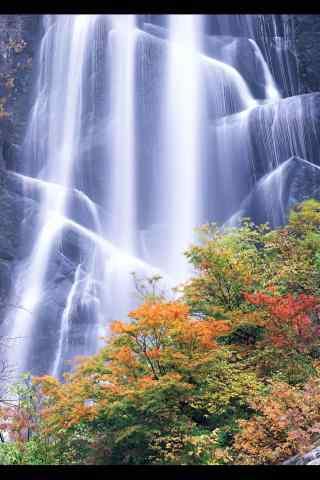 秋季瀑布图片手机