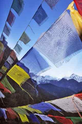 彩色风马旗民族风藏文图片手机壁纸