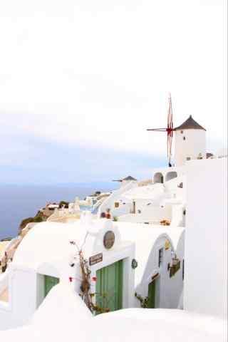 圣托里尼小清新白色建筑风景手机壁纸