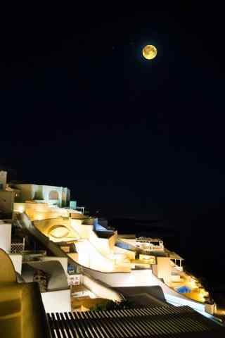 圣托里尼唯美月色夜景图高清手机壁纸