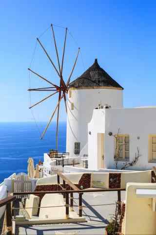 圣托里尼浪漫小清新风车图片手机壁纸