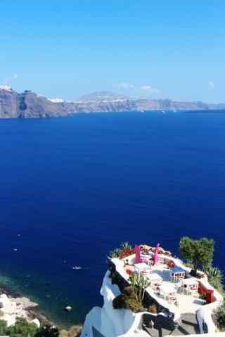圣托里尼蔚蓝大海风景图片手机壁纸