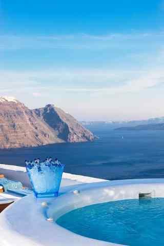 圣托里尼蓝色风景图片高清手机壁纸