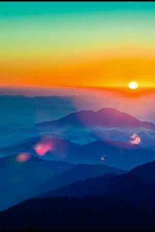 唯美的山顶夕阳风景手机壁纸