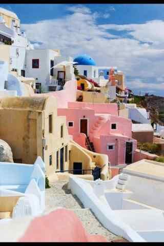 圣托里尼粉蓝色建筑唯美小清新图片手机壁纸