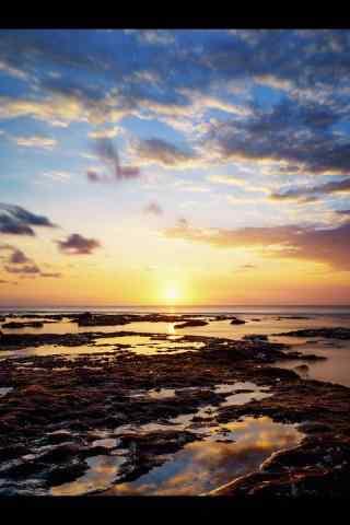 美丽的海边夕阳风景手机壁纸