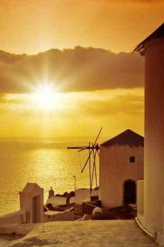 圣托里尼唯美夕阳风景图片手机壁纸