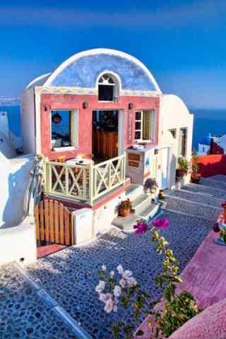 圣托里尼粉色小屋唯美图片手机壁纸