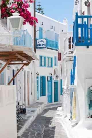 圣托里尼小清新蓝白色图片手机壁纸