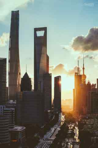 上海唯美朝霞都市风景图片手机壁纸