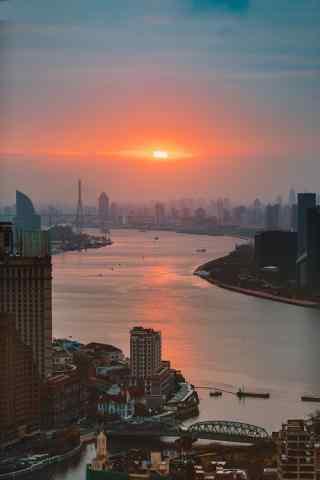 上海黄浦江唯美落日图片手机壁纸