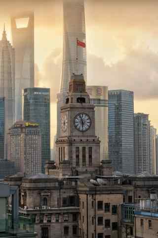 老上海与现代都市碰撞图片手机壁纸