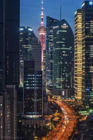 上海繁华都市灯光夜景图片手机壁纸