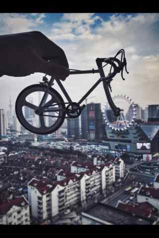 上海大悦城屋顶摩天轮创意摄影图片手机壁纸