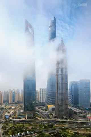 上海金融中心经典建筑风景图片手机壁纸