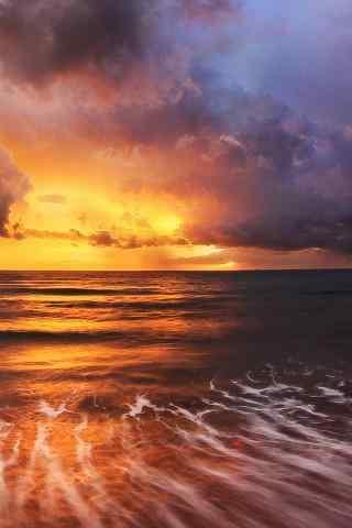 唯美浪漫的海边晚霞风景手机壁纸