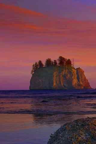 唯美的海边晚霞风景手机壁纸