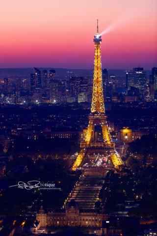 美丽埃菲尔铁塔夜景图片手机壁纸