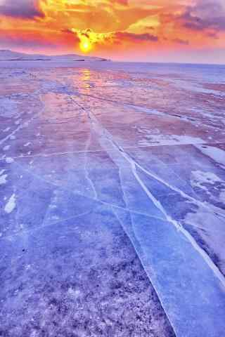 冬日贝加尔湖朝霞风景图片锁屏壁纸