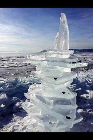 贝加尔湖冰块图片手机壁纸