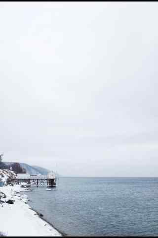 贝加尔湖冬日风景