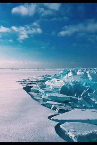 贝加尔湖雪景图片手机壁纸