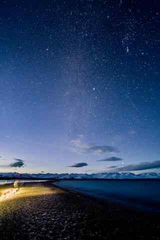 纳木错唯美夜空风景图片手机壁纸