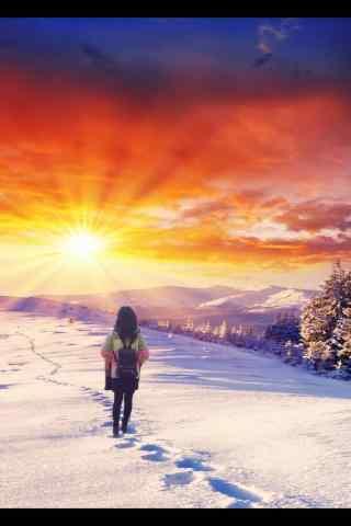 唯美的雪地上的曙光手机壁纸