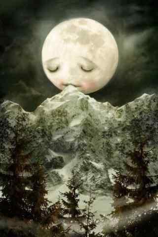 手绘可爱的月亮图