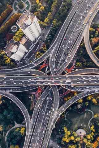 航拍城市交通手机