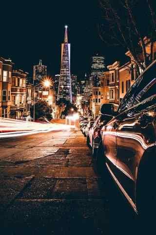 复古风格城市夜景手机壁纸