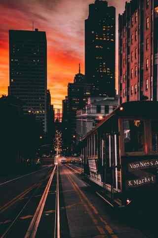 温暖的城市夜景手机壁纸