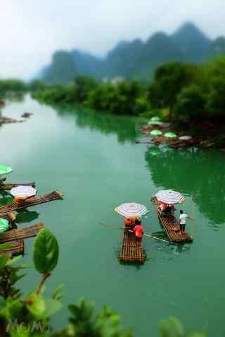 绿色清新漓江山水手机锁屏
