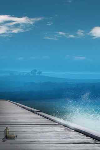 小清新海浪风景摄影手机壁纸