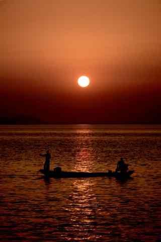 唯美的洞庭湖落日风景手机壁纸