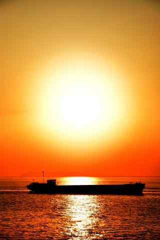 唯美的洞庭湖夕阳风景手机壁纸
