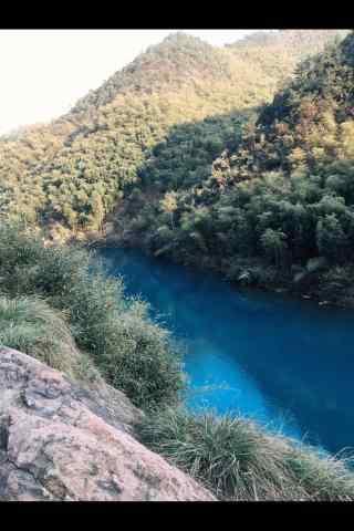 莫干山林里蔚蓝湖水手机壁纸