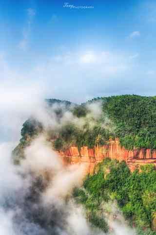 云雾缭绕的蜀南竹海顶峰手机壁纸