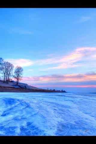 清晨大雪覆盖的黑龙江雪景手机壁纸