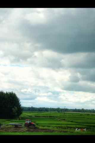 蓝天白云下黑龙江草原手机壁纸