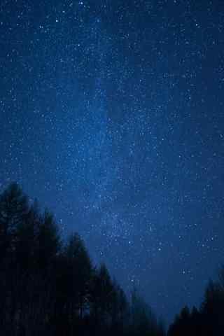夜晚唯美星空下的黑龙江手机壁纸