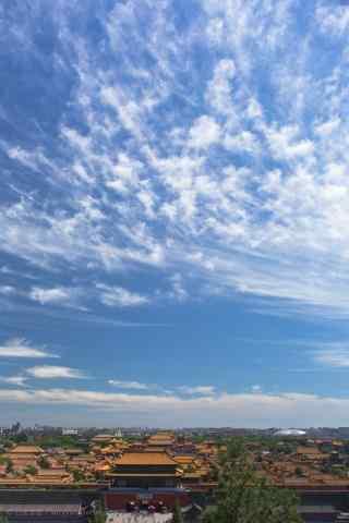 蓝天白云下的故宫手机壁纸